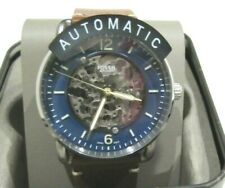 Fossil Men's Commuter Brown Leather Blue Dial Automatic Watch ME3159 NWT $225