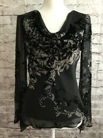 Adrianna Papell Evening Black Sheer Sequin Velvet Silk Top Holiday Festive Small