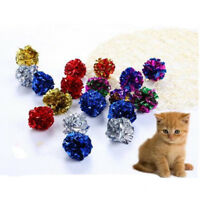 12Pcs Pet Dog Cat Toy Ball Interactive Multicolor Mylar Crinkle Sound Ring Paper