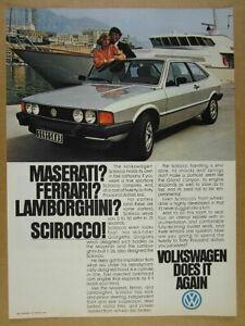 1979 Volkswagen VW Scirocco silver car & yacht photo vintage print Ad
