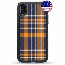 Plaid Stripe iPhone X Xs Max XR 8 7 6 Plus Case TPU Rubber Cover  Blue/Orange