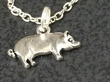 """Pig Porky Charm Tibetan Silver with 18"""" Necklace D3 BIN"""