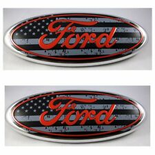 2004 - 2014 FORD F-150 USA II FLAG FRONT GRILLE & REAR TAIL GATE 9 INCH LOGO SET