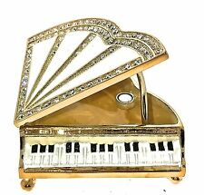 Piano Jewelry Trinket Box 306 Gem Crystal Enameled Bejeweled Hinged Collectible