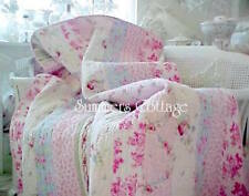 FULL BED QUILT & SHAMS SET SHABBY PINK VINTAGE ROSES CHIC PATCHWORK 100% COTTON