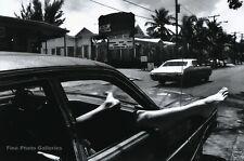 1976 Vintage HELMUT NEWTON Woman Legs Out Of Car Window Duotone Photo Art 8x10