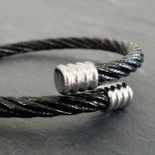 Bracelet en acier inox inoxydable Noir Argent stylisé Femme
