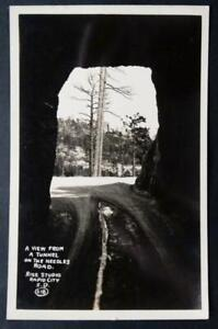 Postcard RPPC Photo View from a Tunnel Needles Road Rise Studio Rapid City S.D.