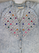 Vintage 3X Monique Fashions Acid Wash Denim Top with Baubles and Rhinestones