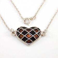 David Andersen Norway Sterling Silver Enamel Heart Pendant Rolo Chain Necklace