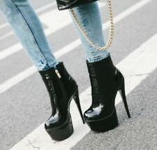 Sexy Women Patent Leather High Heel Stiletto Ankle Boots Platform Side zip Shoes