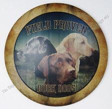 Duck Dogs Labrador Retriever metal TIN SIGN hunting cabin kennel wall art decor