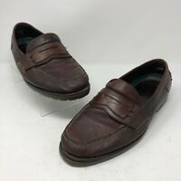 HS Trask 13 Penny Loafer Dress Shoe Mens Brown Leather  Pebbled Handsewn