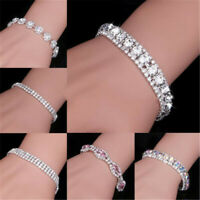 Women Silver Crystal Rhinestone Bangle Bracelet Wedding Bridal Jewelry Wholesale