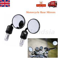 """2X Motocicleta de visión trasera 3""""CNC Aluminio Mango Bar End 7/8"""" Espejos Redondos Negros"""
