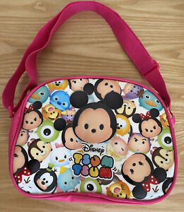 Disney Tsum Tsum Bag PINK - Mickey Mouse Minnie Mouse Bright Colourful VGC
