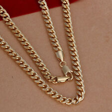"Elegant 18k 18CT Yellow Gold Filled GF 7mm 20"" Curb Link Chain Necklace N-A723"