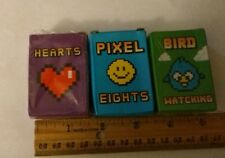 Three Sets - Mini Playing Cards -Pixel 8s, Hearts & Bird Watching -Free Shipping