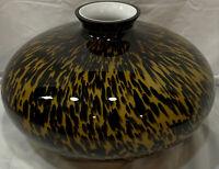Jozephina Krosno Glass Art Vase Animal Print Design Made In Poland - Large Round