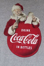 Coca-Cola Drink Coke Classic Old Fashioned Santa Claus Gray T-Shirt M Medium