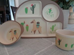 LILA and JACK Brown Llama and Cactus 3-piece Kids Dinner Set NEW!!