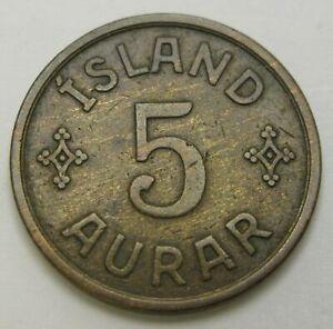 ICELAND 5 Aurar 1931(h) N-GJ - Bronze - Christian X - VF - 1689