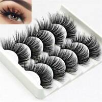 5 Pairs 3D Mink False Eyelashes Wispy Cross Long Thick Soft Fake Eye Lashes NEW