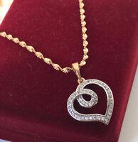 Halskette Herz Anhänger Collier mit Swarovski® Kristallen Gold 18K vergoldet