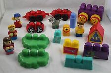 MEGA BLOKS Lot. Specialty Pieces Wagon Blocks Houses People Dog Cat 18 pieces