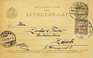 HUNGARY 1900 4f ON 6f TURUL & CROWN POSTAL CARD FROM MAKO TO ZURICH SWITZERLAND