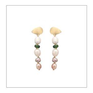ZARD Cultured Multi-Color Baroque Pearl and Green Quartz Linear Drop Earrings