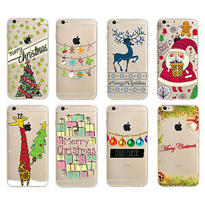 Xmas Printed TPU Clear Transparent Silicone Case Cover for Apple iPhone Models