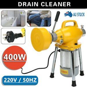 Drain Cleaner Electric Eel Rigid Plumbing Sewerage Pipe Machine w/ Cutters 400W