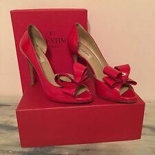 Valentino Garavani Red Patent Peep Toe D'Orsay Bow Heel Shoes Italy Size 39 $845