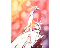 Watercolor painting of Statue of Liberty in NYC.  Statue Liberty artwork (print)