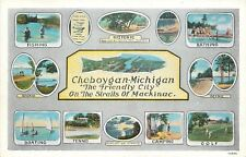 Cheboygan MI~Fish Design~Fishing~Tennis~Golf~Boating~Straits of Mackinac~1931
