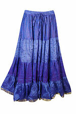 BOHO GYPSY HIPPY MAXI SKIRT TIERED FULL FLARE SILK SARI PURPLE LONG SKIRTS