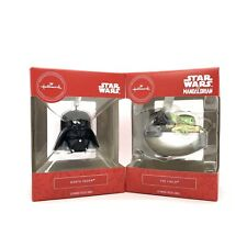 Hallmark Collectibles Star Wars Child Baby Yoda + Darth Vader Christmas Ornament