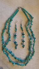 TURQUOISE NUGGETS AND BEADS TWO STRAND NECKLACE and HOMEMADE EARRINGS EXC