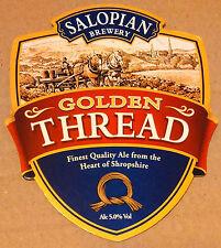 Beer pump badge clip SALOPIAN brewery GOLDEN THREAD real cask ale pumpclip
