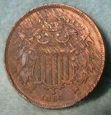 1864 Civil War Era Two Cent Piece High Grade Details United States Type Coin