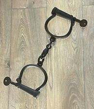 ANTIQUE WWI MILITARY HANDCUFFS SHACKLES DATED 1918 SM CO