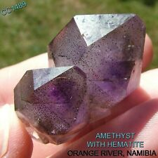 DT AMETHYST CRYSTAL CLUSTER ORANGE RIVER NAMIBIA HEMATITE INCLUSIONS