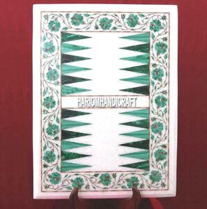 White Rare Marble Backgammon Coffee Malachite Table Inlaid Floral Decor H3691
