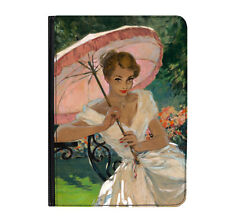 """Pin Up Girl Pink Umbrella Poster Universal 7"""" Leather Flip Case Cover"""