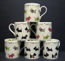 A SET OF SIX 6  SCOTTIE DOG BALMORAL FINE BONE CHINA MUGS CUPS BEAKERS TO CLEAR