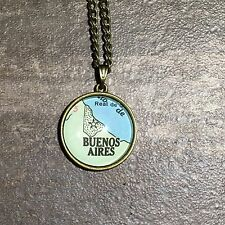 BUENOS AIRES ARGENTINA SOUTH AMERICA Map Pendant bronze necklace vntg ATLAS f04