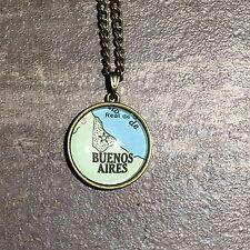 BUENOS AIRES ARGENTINA SOUTH AMERICA Map Pendant bronze necklace vntg ATLAS