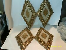 """SET OF 4  MID CENTURY 1965 SYROCO COAT OF ARMS PLASTIC WALL PLAQUES 13 1/2"""""""