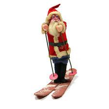 Vintage Composition Santa Doll on Ski's With Sack Metal Poles Made in Japan